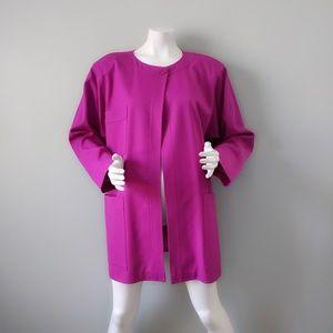 Vtg Ungaro Paris Violet Wool Blazer Jacket 48 L